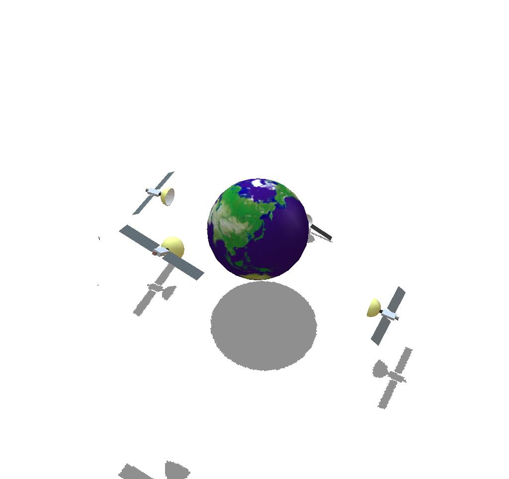 Satellites orbitting around the Earth